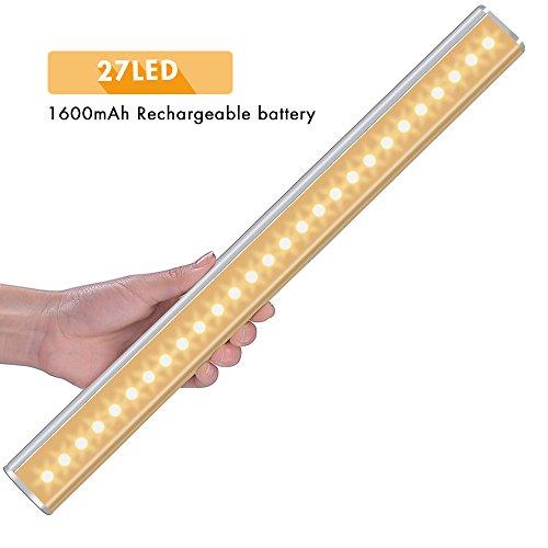 Kleiderschranklicht mit Bewegungsmelder, Cynthia 27LED USB kabellose Schrankleuchte, LED Nachtlicht, Ideal für Badezimmer Kabinett Dachböden Garagen Treppe Schrank, warmweiß