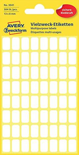 Avery Zweckform 3041 Mini-Organisations-Etiketten (384 Stück, 13 x 8 mm) 6 Blatt weiß