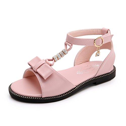 ALUK- Chaussures pour enfants - Chaussures coréennes Chaussures simples mignonnes Chaussures princesses Boucles d'oreilles à bouche de poisson aux ongles ouverts ( Couleur : Rose , taille : 36 ) Rose