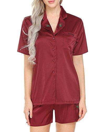 Ekouaer Schlafanzug Damen Kurz Satin Pyjama Träger Shorty Set Top und Shorts (Top Kurzarm-pj)