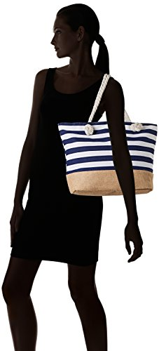 David Jones - Y016, Borse Tote Donna Blu (Rayures Bleues)