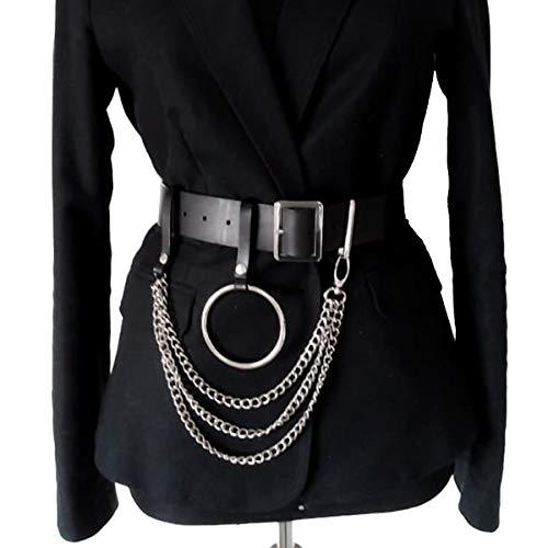 HOMELEX Damen Punk Leder Gürtel Belt mit Metallkette Ring Taille Einstellbare Harness Rollenspiel Kostüm (WM005)