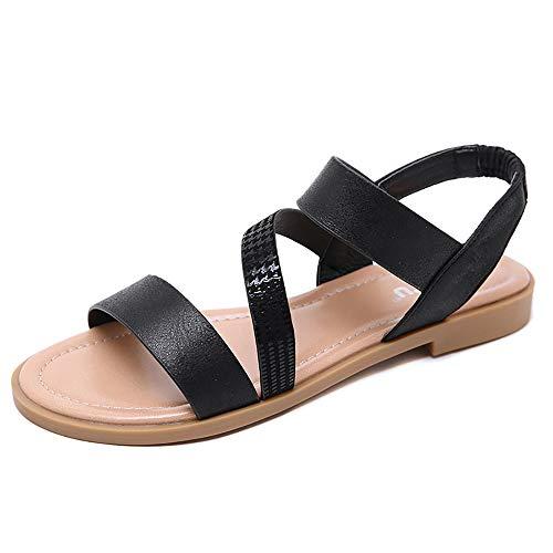 Zoerea Sandali Piatto da Donna, Signore Scarpe Estive Incrociato Ampia Caviglia Fascia Elastica Casual Vacanza Spiaggia Sandalo Nero, Etichetta 42