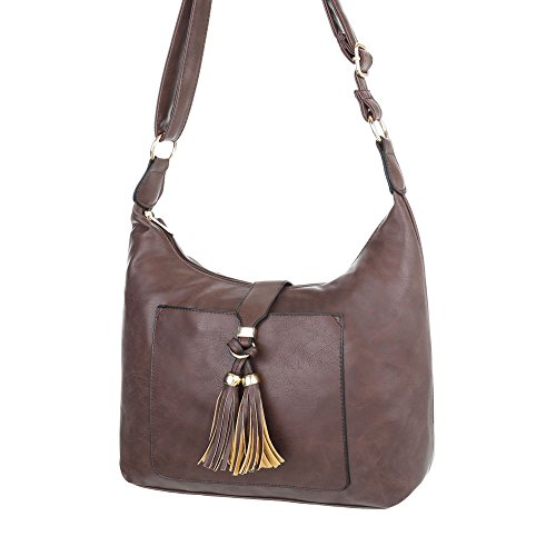 iTal-dEsiGn Damentasche Mittelgroße Schultertasche Handtasche In Used Optik Kunstleder TA-S2512 Braun