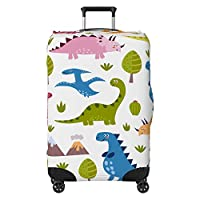 Dinosaurs Kids Suitcase Cover Protector Skin White (Suitcase Not Included)