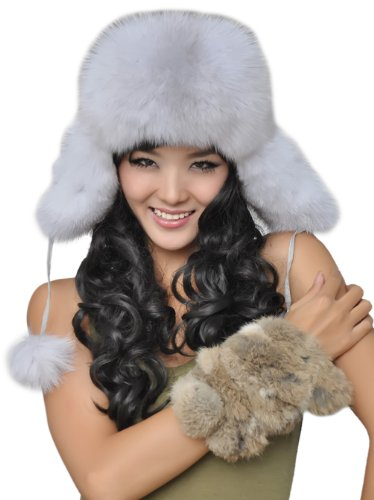 URSFUR Women's Genuine Fox Fur Russian Ushanka Hats Multicolor (Blue