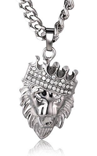"""Halukakah ● Kings Landing ● Männlich Platiniert Krone Löwe Anhänger Halskette mit Kostenloser 24\""""/60cm Kubanische Kette"""