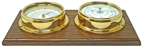 Tabic, barómetro y termómetro de latón tradicional en un soporte de roble inglés,...