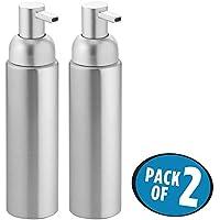 mDesign Dispensador de jabón rellenable - Dosificador de jabón líquido, en aluminio inoxidable - Para jabón, loción, shampoo o gel mDesign - Color plata - Capacidad 251ml