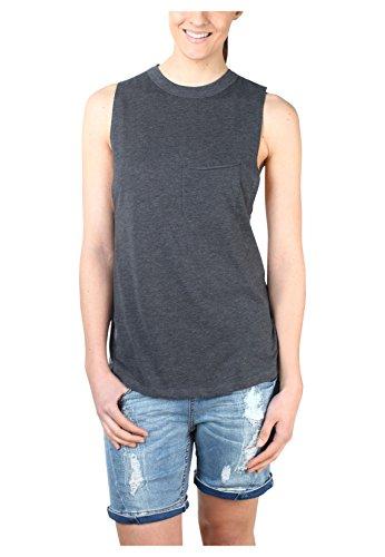 Stitch & Soul Lockeres Beach Top | Damen Tank-Top uni-farben mit Brusttasche und Rundhalsausschnitt Dark-Grey