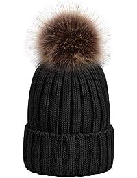 fbf75999936194 UPhitnis Bommelmütze Mütze Damen | Warme Strickmütze mit Fleecefutter  Rollrand | Elegantem Wintermütze mit Fellbommel Pom