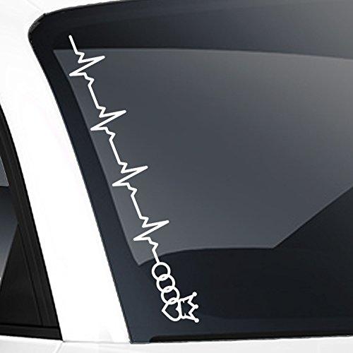 Auto Aufkleber in deiner Wunschfarbe Frontscheibenaufkleber Herzschlag JDM Für Audi Fans 55x7 cm Sticker.