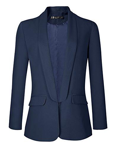 Urban GoCo Mujeres Blazers Chaqueta de Traje Slim Fit Elegante Oficina Negocios Outwear (Small, Azul Marino)
