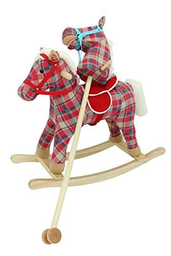 Sweety Toys 5208 Steckenpferd und Schaukelpferd im SET - 2 in 1, My BEAUTY,super-süss, Pferd, Fohlen,Sweety-Toys,Farbe Rot Kariert Cotton Baumwolle-sehr edel- mit Funktion. Ohr drücken, Galopp und Pferdegewieher erklingt Top Qualität