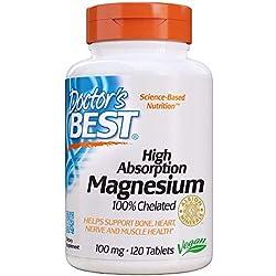 Doctor's Best | Magnesio de alta absorción | 120 Tabletas veganas | sin gluten y soya