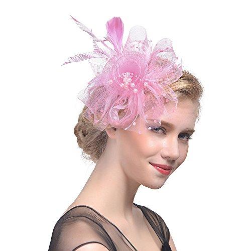 Fascinators Hut 1920er Jahre Zubehör Damen Stirnband Blume Mesh Bänder Federn mit Perle Cocktail Tea Tanzparty Party Retro Headwear Party Accessoires(Rosa)