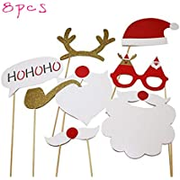 Toyvian Navidad Photo Booth Props Navidad Selfie Photo Props DIY Kit con Gafas Bigote Ciervo Cuerno