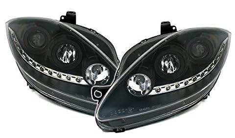 Scheinwerfer Set in Klarglas Schwarz, mit LED Tagfahrlicht Optik