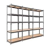 3 scaffali in acciaio resistente, 175 kg per ripiano (5 livelli 1800 x 900 x 600 mm (altezza x larghezza x profondità).