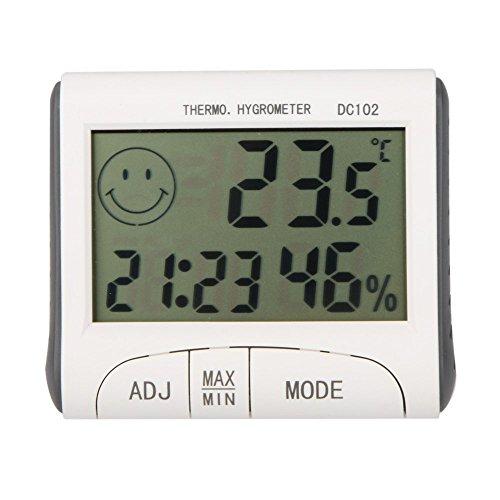 Thermometer - TOOGOO(R) LCD-Digital-Thermometer Hygrometer Feuchtigkeit Temperatur-Messgeraet Uhr / magnetische Weiss