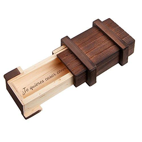 """MAGISCHE GESCHENKBOX Caja mágica de madera oscura – Pedida de mano – """"¿Quieres casarte conmigo?"""" – Envoltorio para anillo de pedida de mano – Juego de ingenio – 10,5 cm x 6,5 cm x 4 cm"""