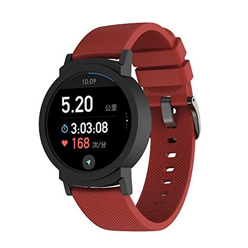 JiaMeng Transpirable reemplazo Pulsera pequeña Correa de Silicona de reemplazo Pulsera para Ticwatch E(Rojo)