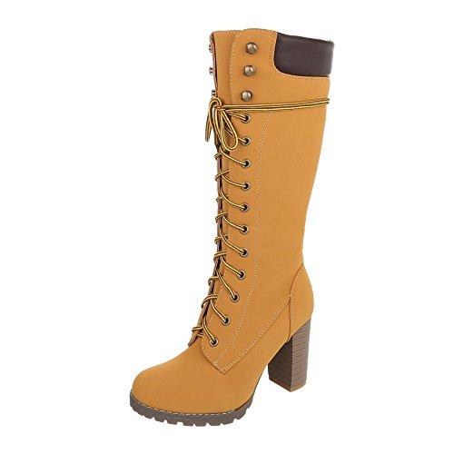 Schnürstiefel Damen-Schuhe Klassischer Stiefel Pump Schnürer Reißverschluss Ital-Design Stiefel Camel, Gr 40, Fr66-