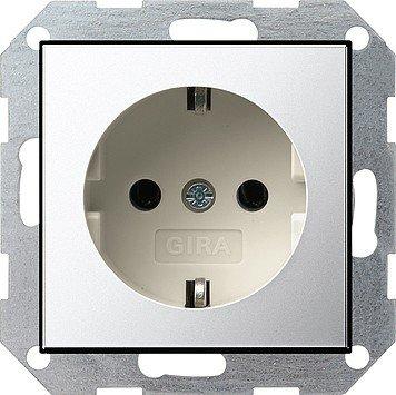Gira 0188615SCHUKO Chrome, White socket-outlet–socket-outlets