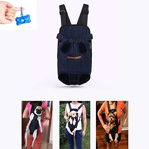 Teammao Mochila para Mascotas Doble Hombros Transpirable Cómodo Transportadora de Perro Gato Doble Mochila Bolso de Escuela para Viajes, Bicicleta, Senderismo, Compras. (M, Vaquero Azul)