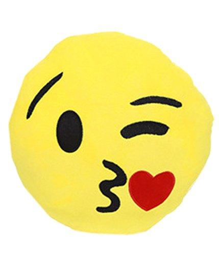 Coucharmy Emoji Smiley Kissen Face Emoji Deko Melone Poop versch Designs (Emoji/Kiss, One Size/Einheitsgrösse)