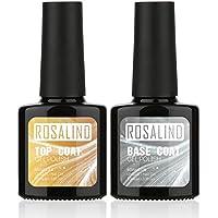 ROSALIND 10 ml 2 piezas Top Coat + Base Coat UV Gel Esmalte de Uñas Imprimación Nail Art Manicura Herramientas