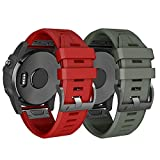 NotoCity Armband für Garmin Fenix 3 26mm Silikonband Easy Fit für Fenix 5X / Fenix 5X Plus/Fenix 3 / Fenix 3 HR (Rot+Armee grün)