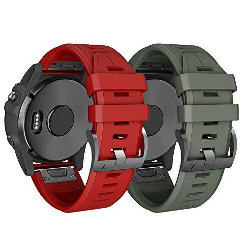 NotoCity Armband für Garmin Fenix   3 26mm Silikonband Easy Fit für Fenix   5X / Fenix   5X Plus/Fenix   3 / Fenix   3 HR (Rot+Armee grün) - Digital-arm