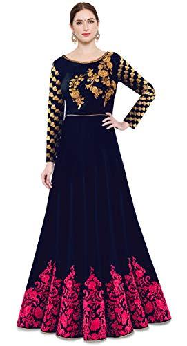 Kedar Fab Women\'s Cotton Silk Anarkali Gown (Blue Pink Free Size)