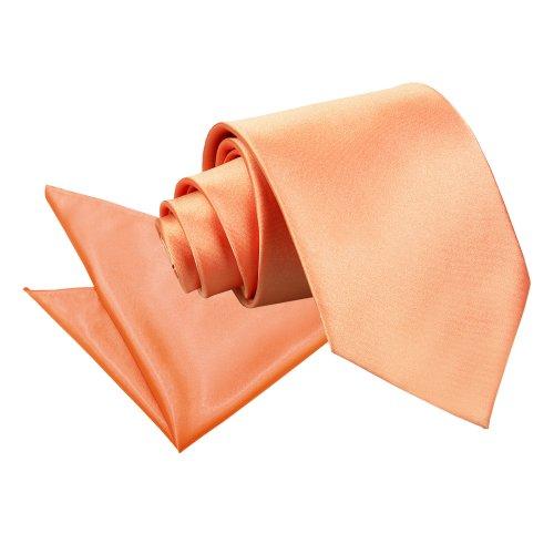 Nouveauté DQT Cravate Unie Homme Haute Qualité Et Mouchoir Assorti Pour Mariage Corail