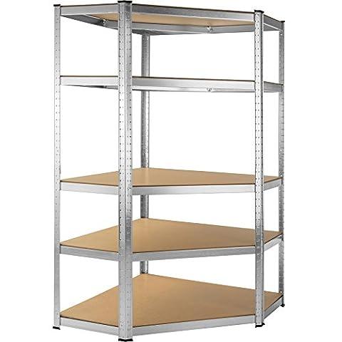 TecTake Étagère de coin charge lourde 875kg metallique de rangement à 5 tablettes en acier bois 180x89,5x89,5cm   175 kg par niveau