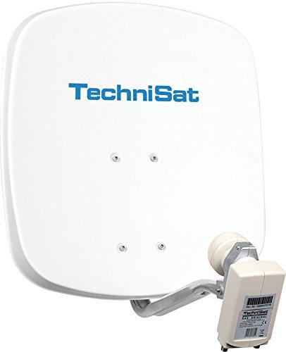 TechniSat DIGIDISH 45 - Satelliten-Schüssel, 45 cm Spiegel mit Wandhalterung und Universal Twin-LNB (Zwei Teilnehmer) weiß
