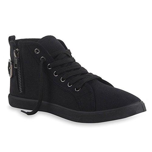 Damen Sneakers High Top Sportschuhe Zipper Stoffschuhe Schwarz