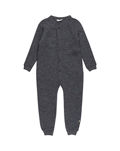 Wollvlies Kinder Overall l-Holzkohle -3-9m -