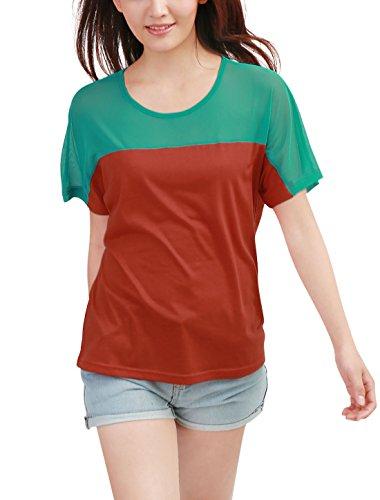 Allegra K Femme Decolleté Mousseline De Soie Panneau Supérieur Été T-shirt Orange Foncé, Vert