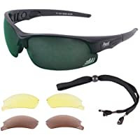 d0c6518754 Rapid Eyewear Edge Black UV400 SUNGLASSES FOR GOLF With Interchangeable Polarised  Mirror   Low Light Lenses