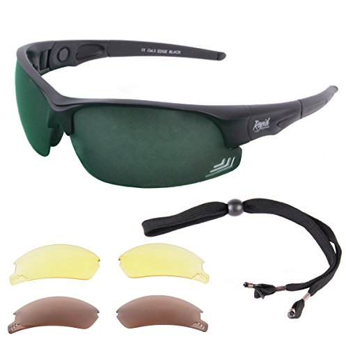 47d7ba9efc Rapid Eyewear Edge Black UV400 SUNGLASSES FOR GOLF With Interchangeable  Polarised Mirror   Low Light Lenses