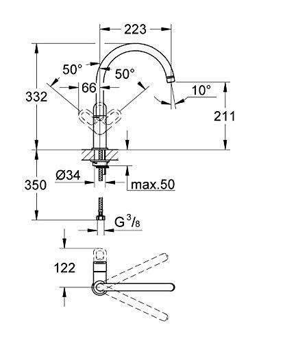 Grohe – Start Loop Küchenarmatur, hoher Auslauf, Schwenkbereich 360°, Chrom - 3
