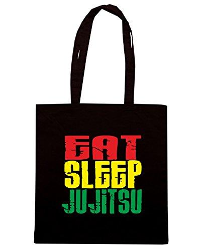 T-Shirtshock - Borsa Shopping TAM0028 eat sleep ju jitsu white tshirt Nero