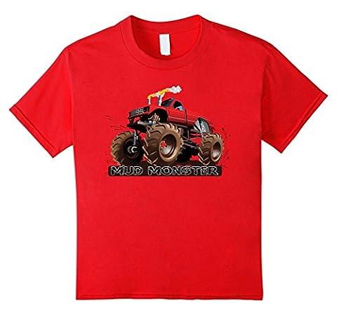 Monster Truck Mud Monster Tee Red Monster Truck Kinder, Größe 104 Rot