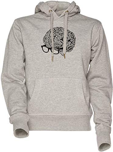 Vendax Gehirn mit Brille Unisex Herren Damen Kapuzenpullover Sweatshirt Grau Men's Women's Hoodie Grey