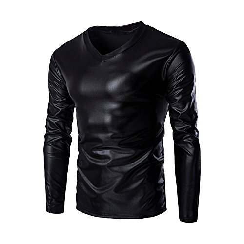 FRAUIT Metallic Shiny Sweatshirt Wet Look Langarm T-Shirt Top Slim Fit Bluse mit V-Ausschnitt Hemd Freizeit Masquerade Festival Party Tanzparty M-5XL -