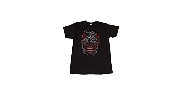 995114a84101 Fender Official Black Day of the Dead Skull Mens Small T-Shirt:  Amazon.co.uk: Musical Instruments
