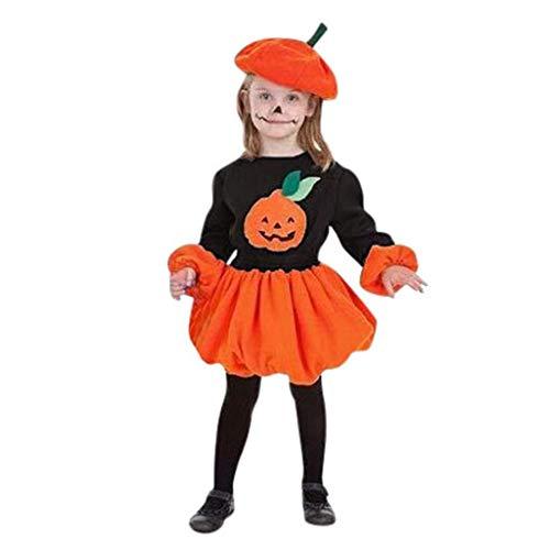 Romantic Halloween Kostüme Kinder Lange Ärmel Kleid Mädchen Festlich Laternenärmel Kürbis Gedruckt Tutu Kleid Mädchen Süß Kürbissmiley Rock Halloween Cosplay Tutu Kleid + Hut 2er Set Kleid