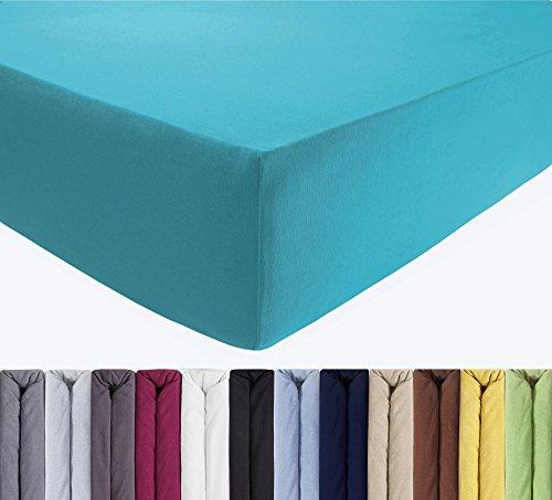 ENTSPANNO Jersey Spannbettlaken 140 x 200   160 x 220 cm für Wasser- und Boxspringbett in Petrol (Türkis) aus gekämmter Baumwolle. Spannbetttuch mit Einlaufschutz, bis 40 cm hohe Matratzen